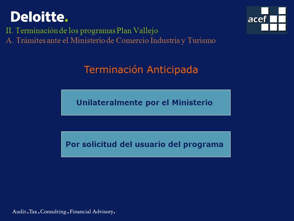 II. Terminación de los programas Plan Vallejo A. Trámites ante el Ministerio de Comercio Industria y Turismo Terminación Anticipada Unilateralmente po