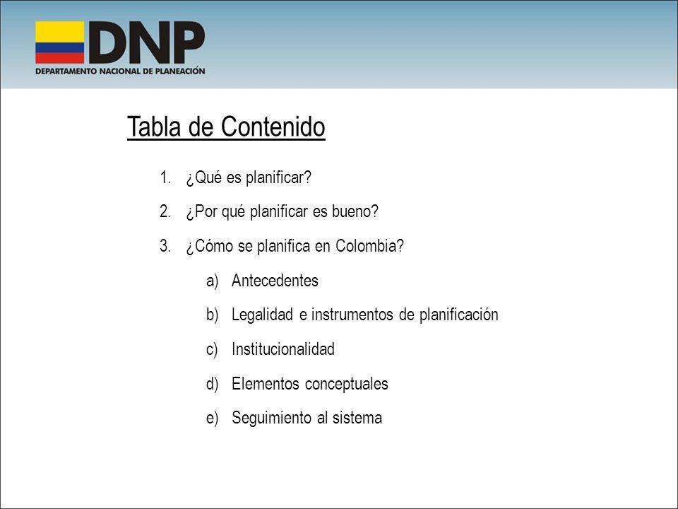 Tabla de Contenido 1.¿Qué es planificar? 2.¿Por qué planificar es bueno? 3.¿Cómo se planifica en Colombia? a)Antecedentes b)Legalidad e instrumentos d