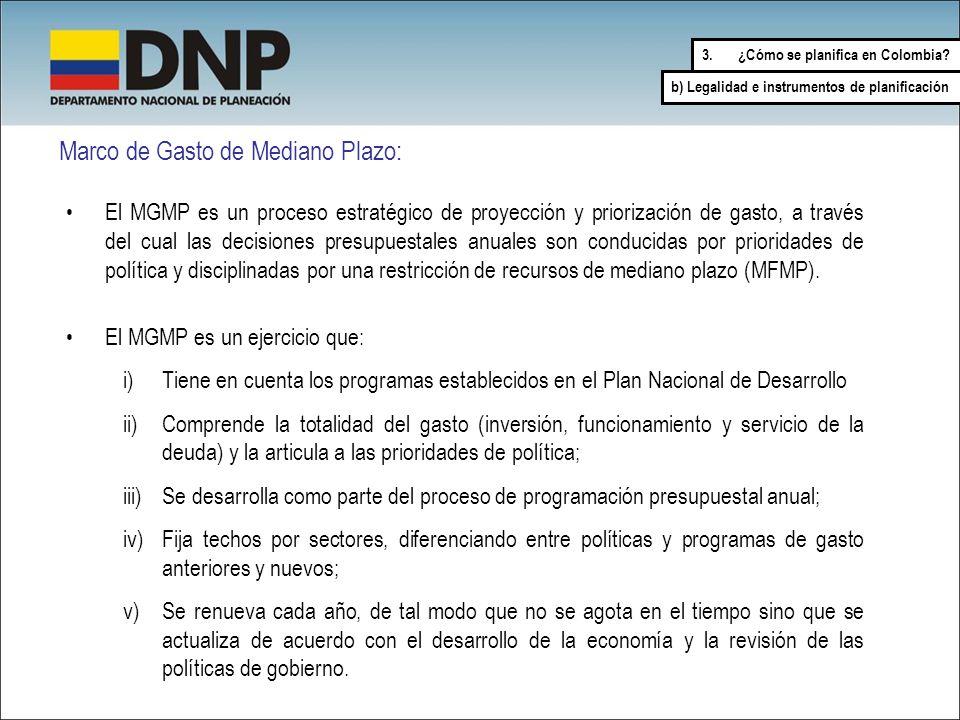 Marco de Gasto de Mediano Plazo: El MGMP es un proceso estratégico de proyección y priorización de gasto, a través del cual las decisiones presupuesta