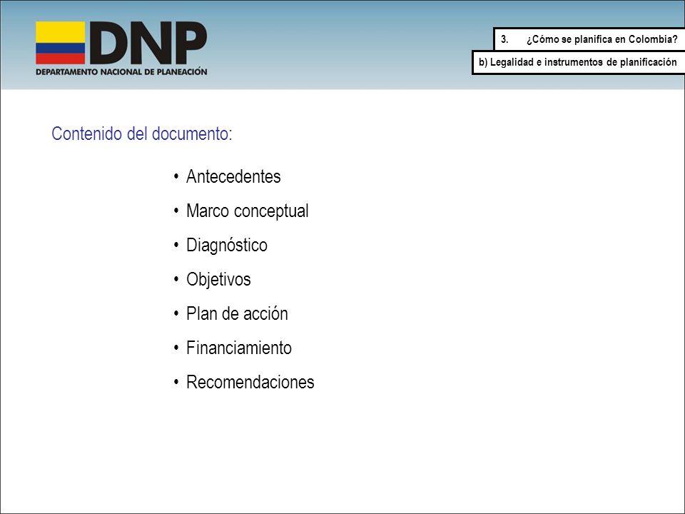 Contenido del documento: Antecedentes Marco conceptual Diagnóstico Objetivos Plan de acción Financiamiento Recomendaciones 3.¿Cómo se planifica en Col