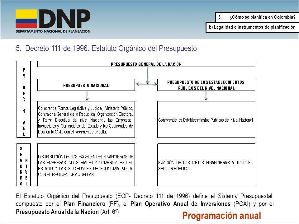 5. Decreto 111 de 1996: Estatuto Orgánico del Presupuesto El Estatuto Orgánico del Presupuesto (EOP- Decreto 111 de 1996) define el Sistema Presupuest