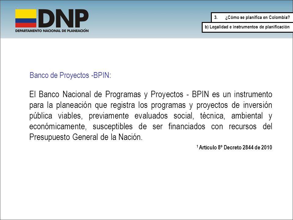 Banco de Proyectos -BPIN: 1 Artículo 8º Decreto 2844 de 2010 El Banco Nacional de Programas y Proyectos - BPIN es un instrumento para la planeación qu
