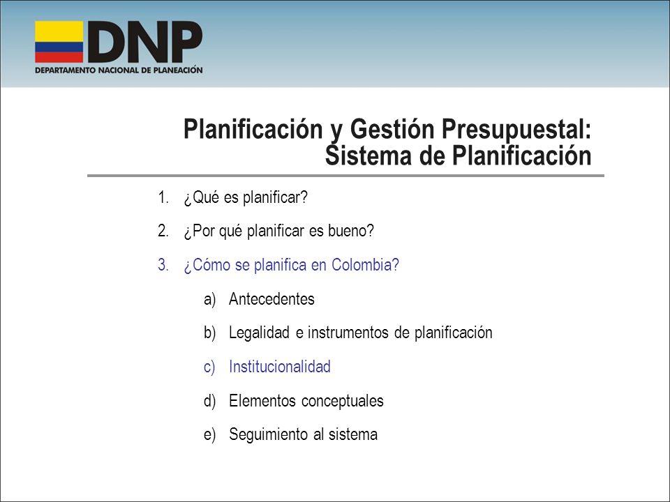 Planificación y Gestión Presupuestal: Sistema de Planificación 1.¿Qué es planificar? 2.¿Por qué planificar es bueno? 3.¿Cómo se planifica en Colombia?