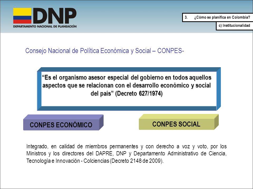 Consejo Nacional de Política Económica y Social – CONPES- Es el organismo asesor especial del gobierno en todos aquellos aspectos que se relacionan co