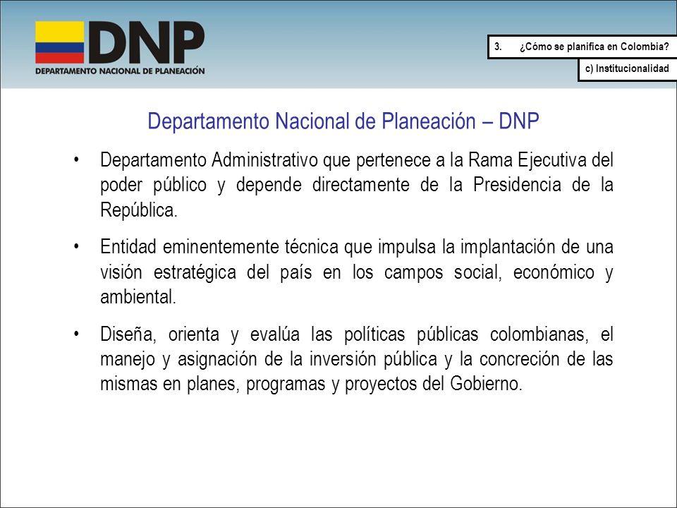 Departamento Nacional de Planeación – DNP Departamento Administrativo que pertenece a la Rama Ejecutiva del poder público y depende directamente de la