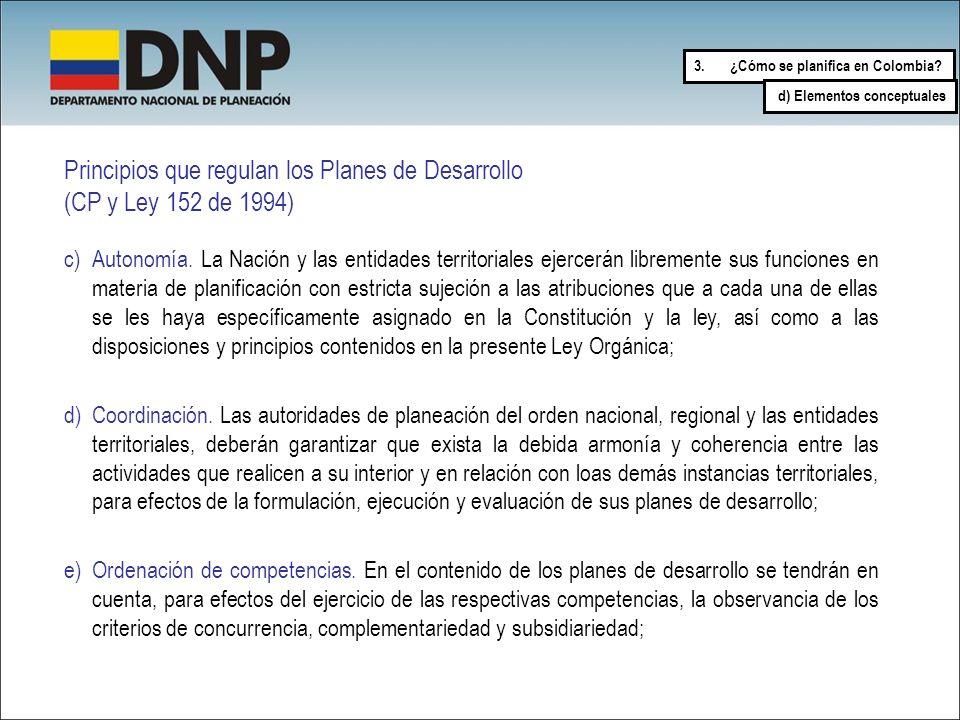 Principios que regulan los Planes de Desarrollo (CP y Ley 152 de 1994) c)Autonomía. La Nación y las entidades territoriales ejercerán libremente sus f