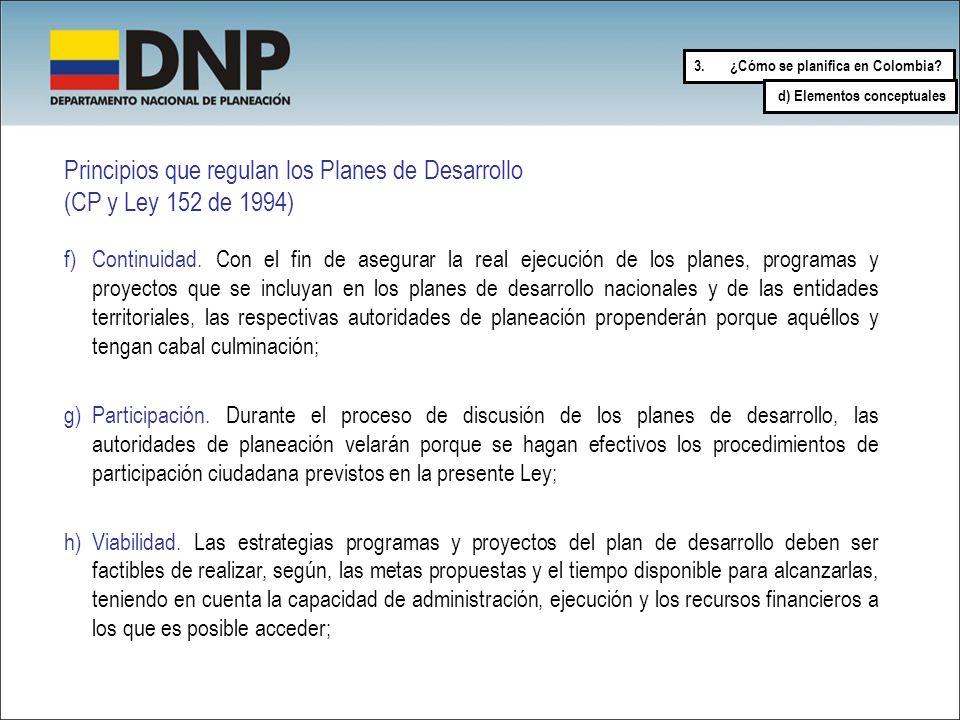 Principios que regulan los Planes de Desarrollo (CP y Ley 152 de 1994) f)Continuidad. Con el fin de asegurar la real ejecución de los planes, programa