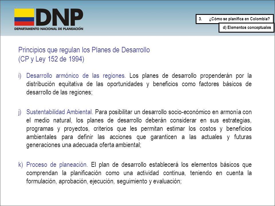 Principios que regulan los Planes de Desarrollo (CP y Ley 152 de 1994) i)Desarrollo armónico de las regiones. Los planes de desarrollo propenderán por
