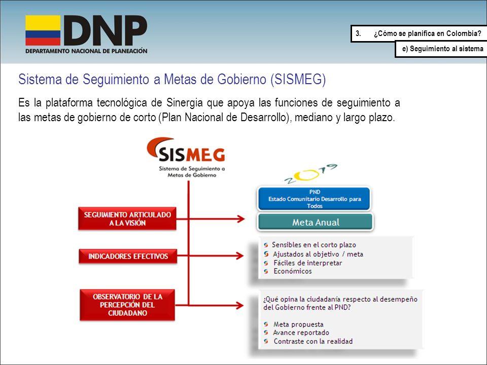 3.¿Cómo se planifica en Colombia? e) Seguimiento al sistema Sistema de Seguimiento a Metas de Gobierno (SISMEG) Es la plataforma tecnológica de Sinerg