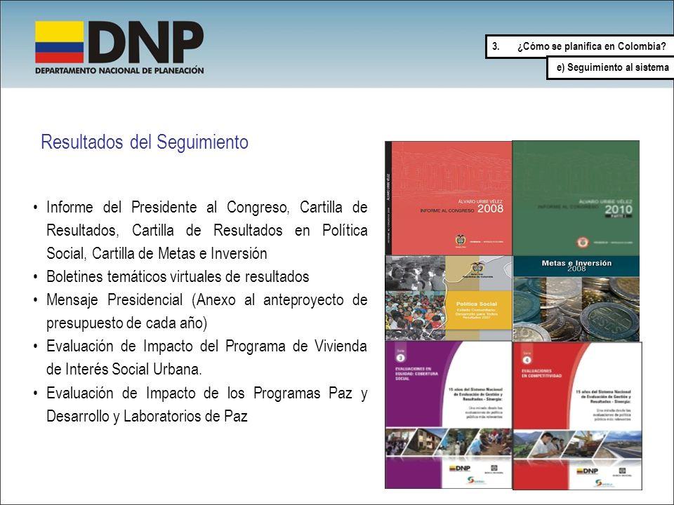 Resultados del Seguimiento Informe del Presidente al Congreso, Cartilla de Resultados, Cartilla de Resultados en Política Social, Cartilla de Metas e