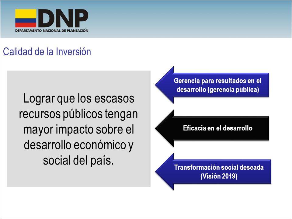 Calidad de la Inversión Lograr que los escasos recursos públicos tengan mayor impacto sobre el desarrollo económico y social del país. Gerencia para r
