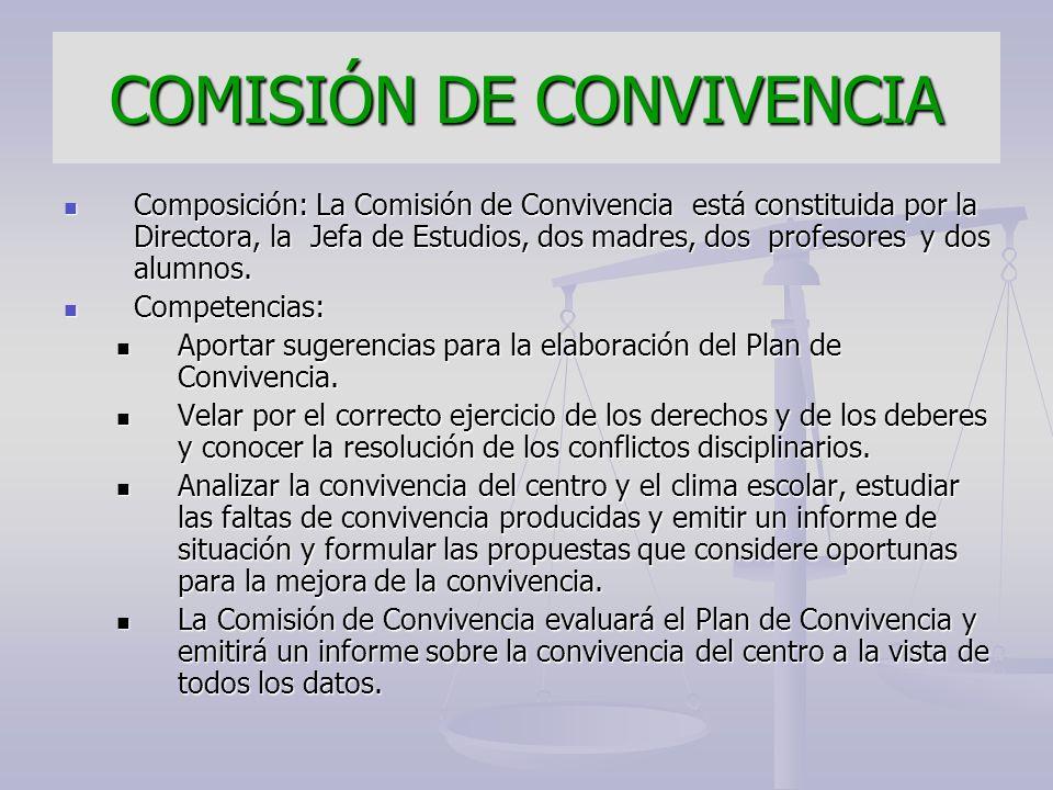 COMISIÓN DE CONVIVENCIA Composición: La Comisión de Convivencia está constituida por la Directora, la Jefa de Estudios, dos madres, dos profesores y d