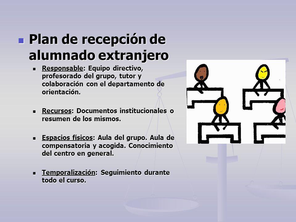 Plan de recepción de alumnado extranjero Plan de recepción de alumnado extranjero Responsable: Equipo directivo, profesorado del grupo, tutor y colabo