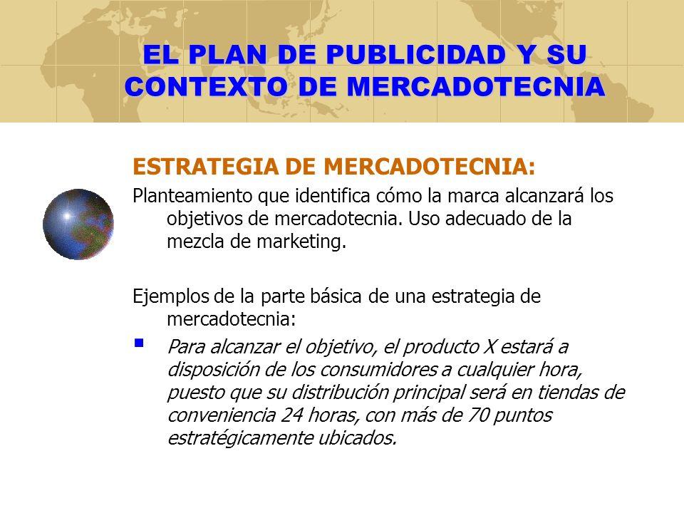 EL PLAN DE PUBLICIDAD Y SU CONTEXTO DE MERCADOTECNIA ESTRATEGIA DE MERCADOTECNIA: Planteamiento que identifica cómo la marca alcanzará los objetivos de mercadotecnia.