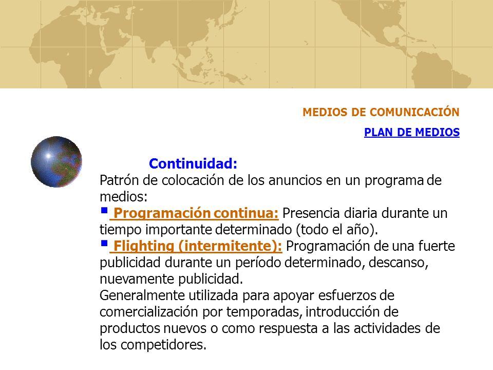 MEDIOS DE COMUNICACIÓN PLAN DE MEDIOS Continuidad: Patrón de colocación de los anuncios en un programa de medios: Programación continua: Presencia dia