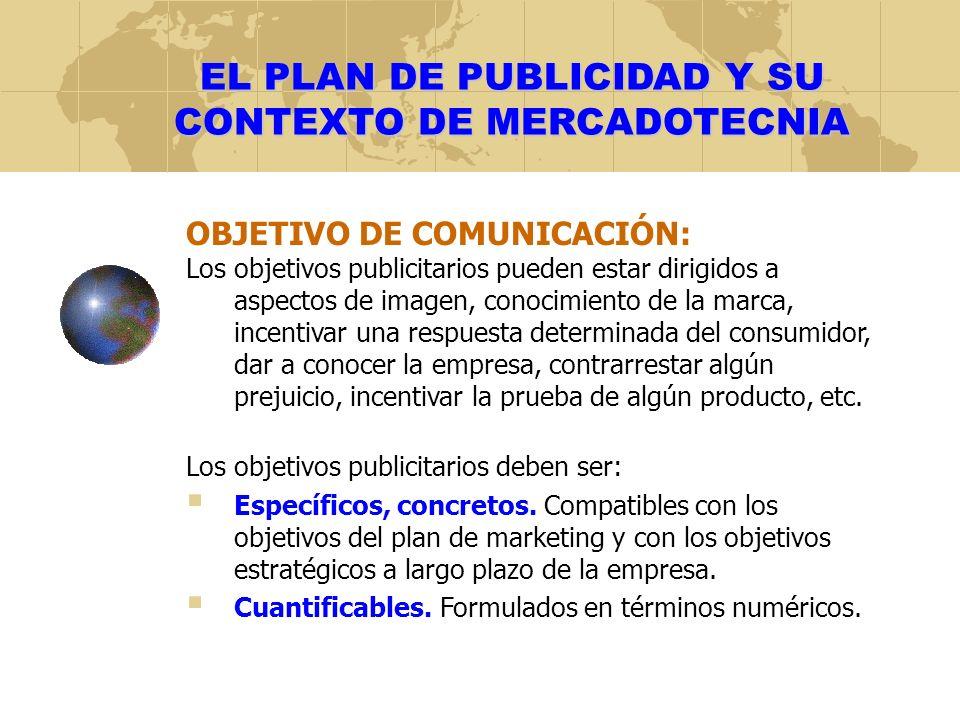 EL PLAN DE PUBLICIDAD Y SU CONTEXTO DE MERCADOTECNIA OBJETIVO DE COMUNICACIÓN: Los objetivos publicitarios pueden estar dirigidos a aspectos de imagen