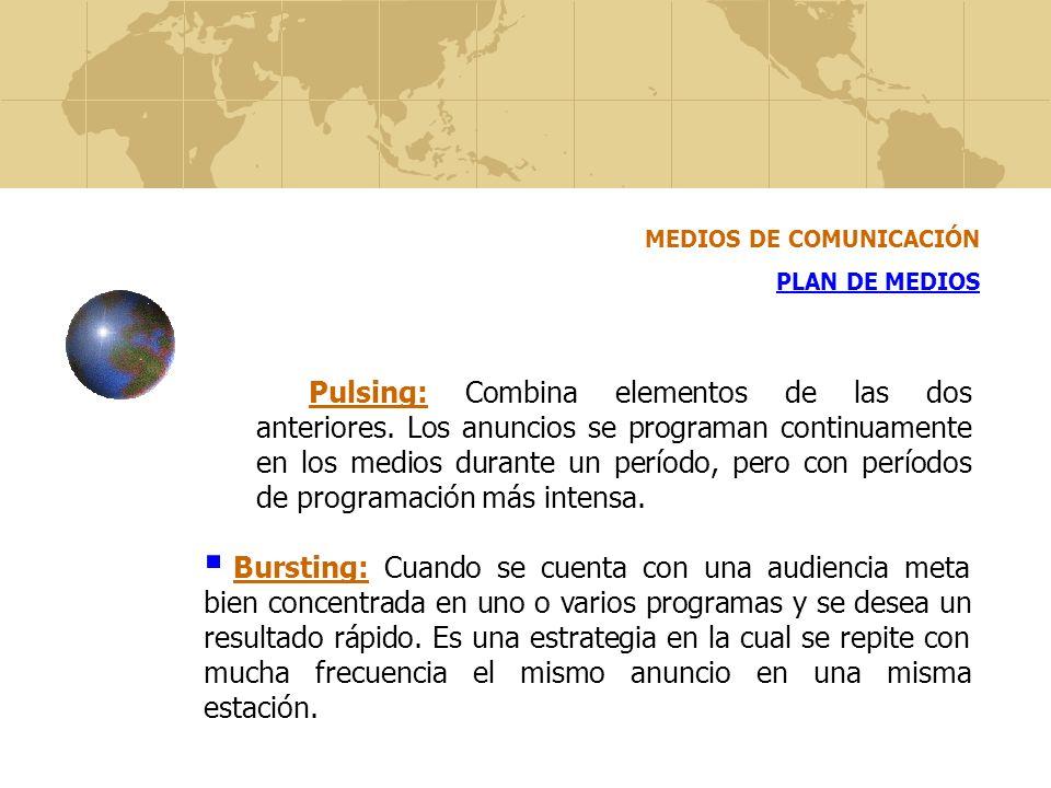 MEDIOS DE COMUNICACIÓN PLAN DE MEDIOS Pulsing: Combina elementos de las dos anteriores. Los anuncios se programan continuamente en los medios durante