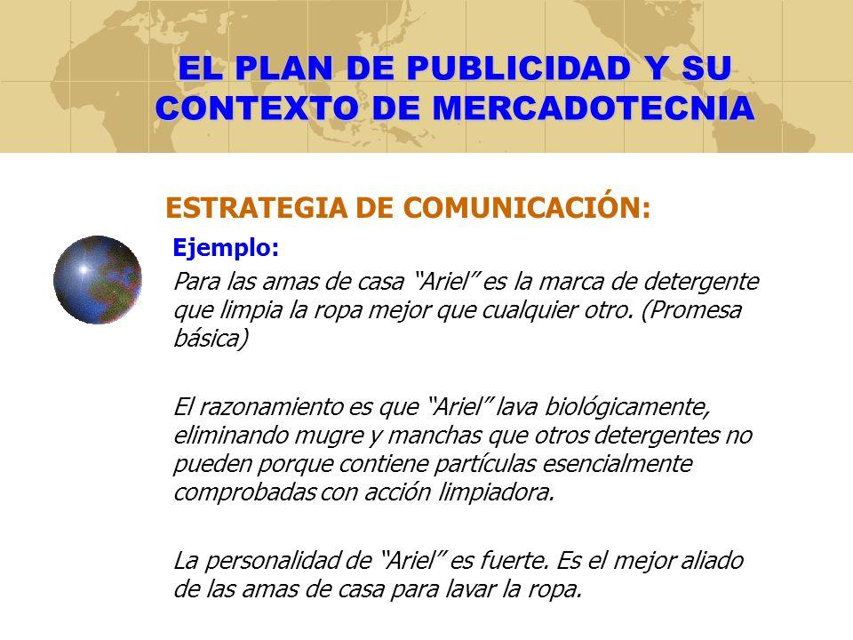 EL PLAN DE PUBLICIDAD Y SU CONTEXTO DE MERCADOTECNIA EJERCICIO: 1.