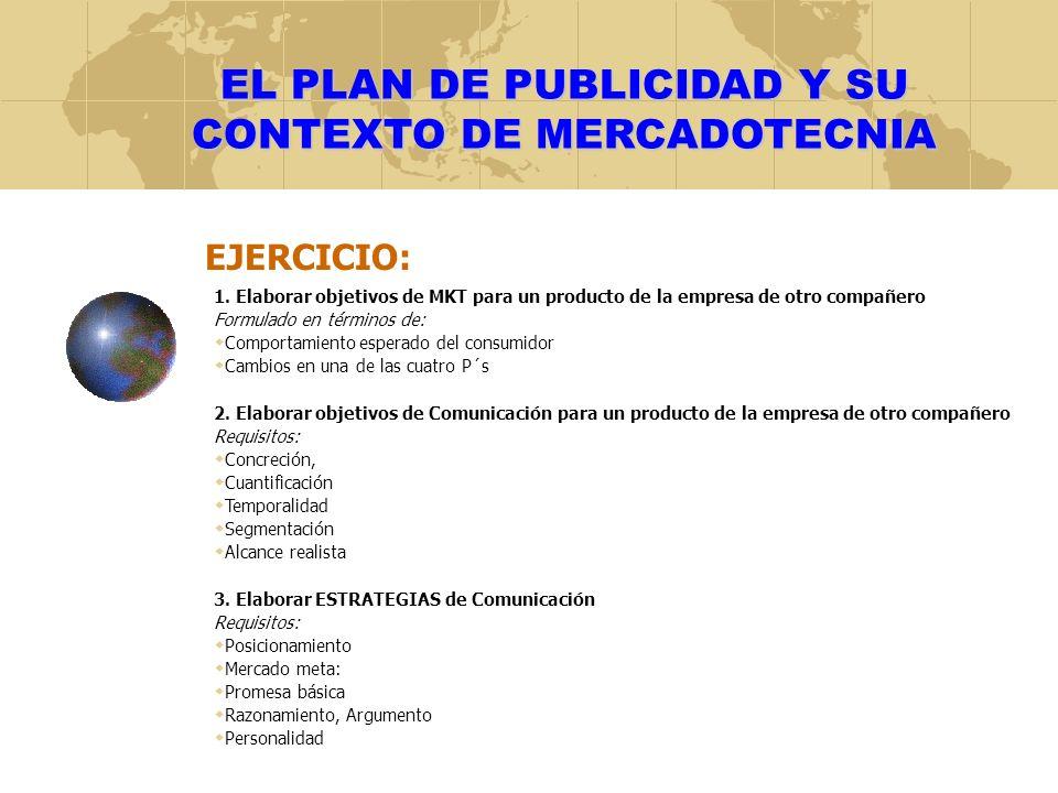 EL PLAN DE PUBLICIDAD Y SU CONTEXTO DE MERCADOTECNIA EJERCICIO: 1. Elaborar objetivos de MKT para un producto de la empresa de otro compañero Formulad