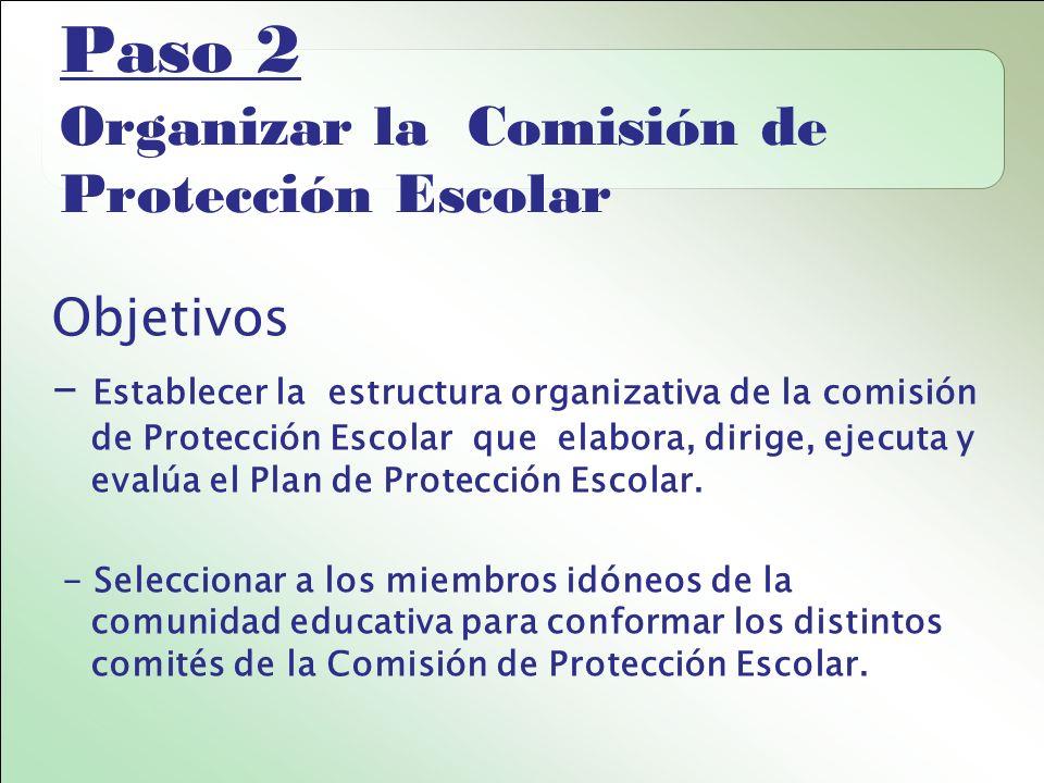 Paso 2 Organizar la Comisión de Protección Escolar Objetivos - Establecer la estructura organizativa de la comisión de Protección Escolar que elabora, dirige, ejecuta y evalúa el Plan de Protección Escolar.