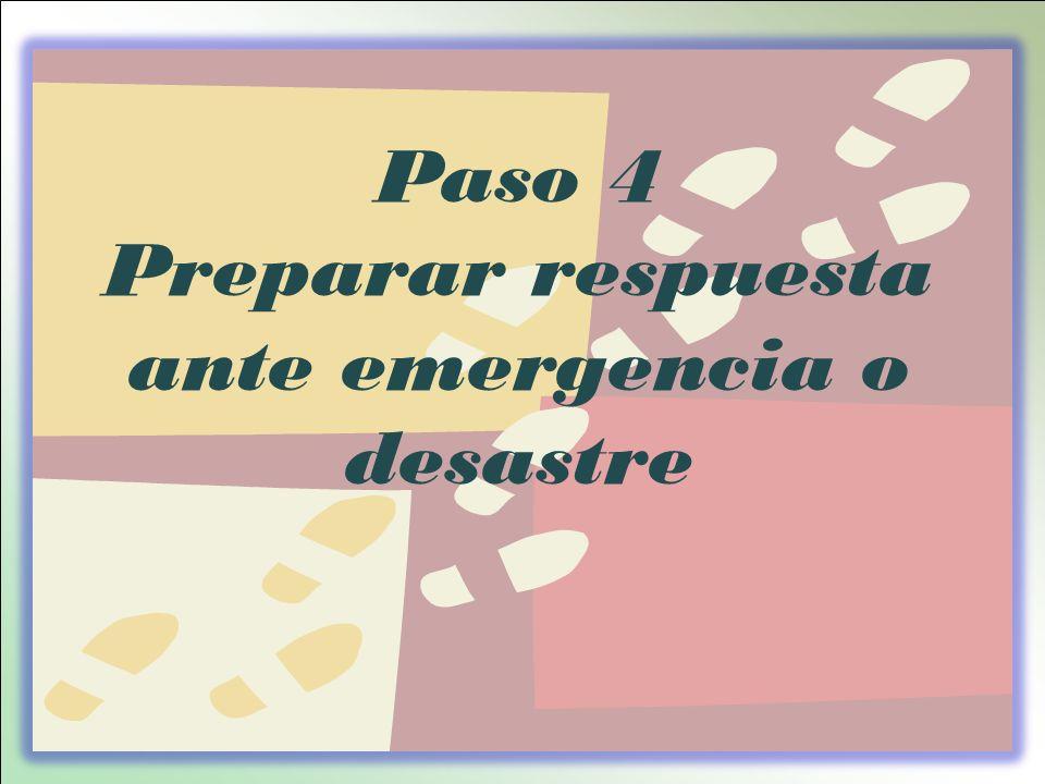 Paso 4 Preparar respuesta ante emergencia o desastre