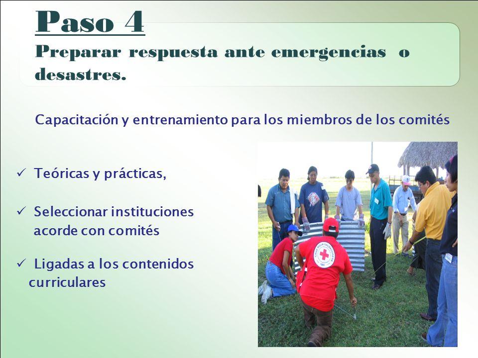 Paso 4 Preparar respuesta ante emergencias o desastres.