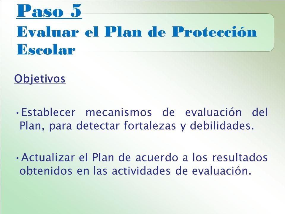Paso 5 Evaluar el Plan de Protección Escolar Objetivos Establecer mecanismos de evaluación del Plan, para detectar fortalezas y debilidades.