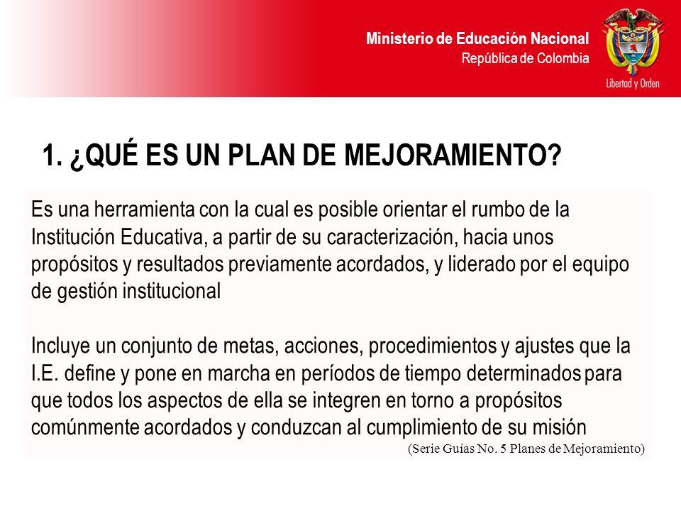 Ministerio de Educación Nacional República de Colombia 1. ¿QUÉ ES UN PLAN DE MEJORAMIENTO? Es una herramienta con la cual es posible orientar el rumbo