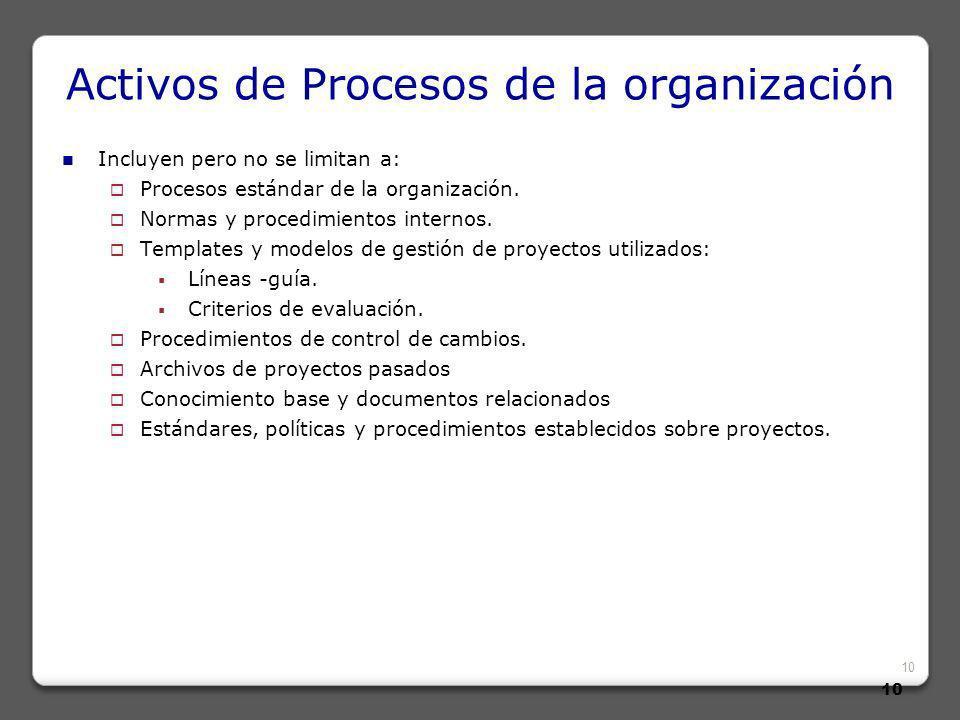 10 Activos de Procesos de la organización Incluyen pero no se limitan a: Procesos estándar de la organización.