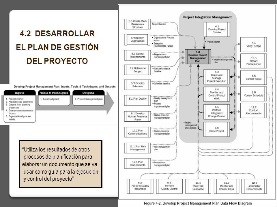 14 4.2 DESARROLLAR EL PLAN DE GESTIÓN DEL PROYECTO Utiliza los resultados de otros procesos de planificación para elaborar un documento que se va usar como guía para la ejecución y control del proyecto