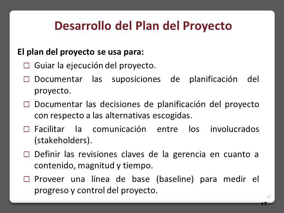 17 El plan del proyecto se usa para: Guiar la ejecución del proyecto.