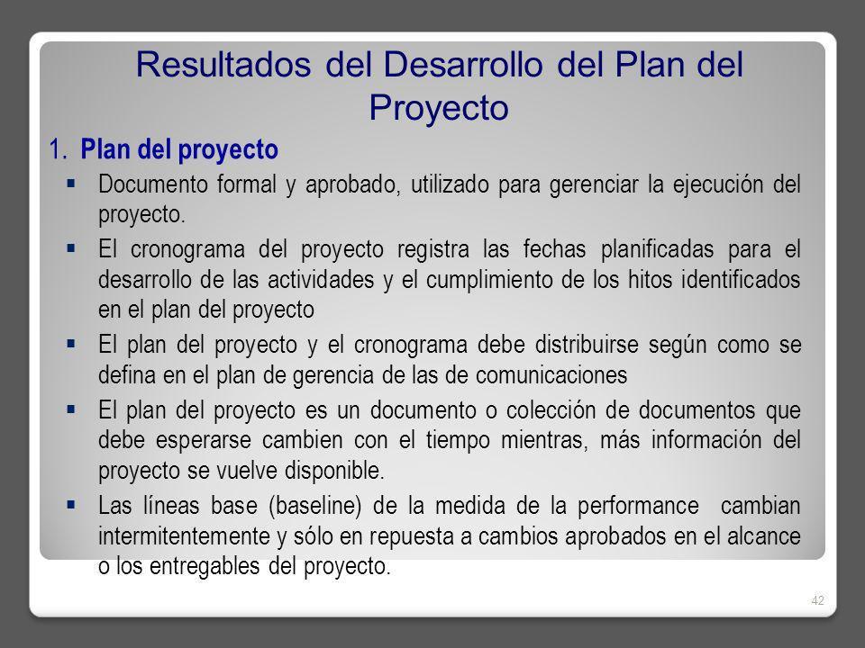 1. Plan del proyecto Documento formal y aprobado, utilizado para gerenciar la ejecución del proyecto. El cronograma del proyecto registra las fechas p