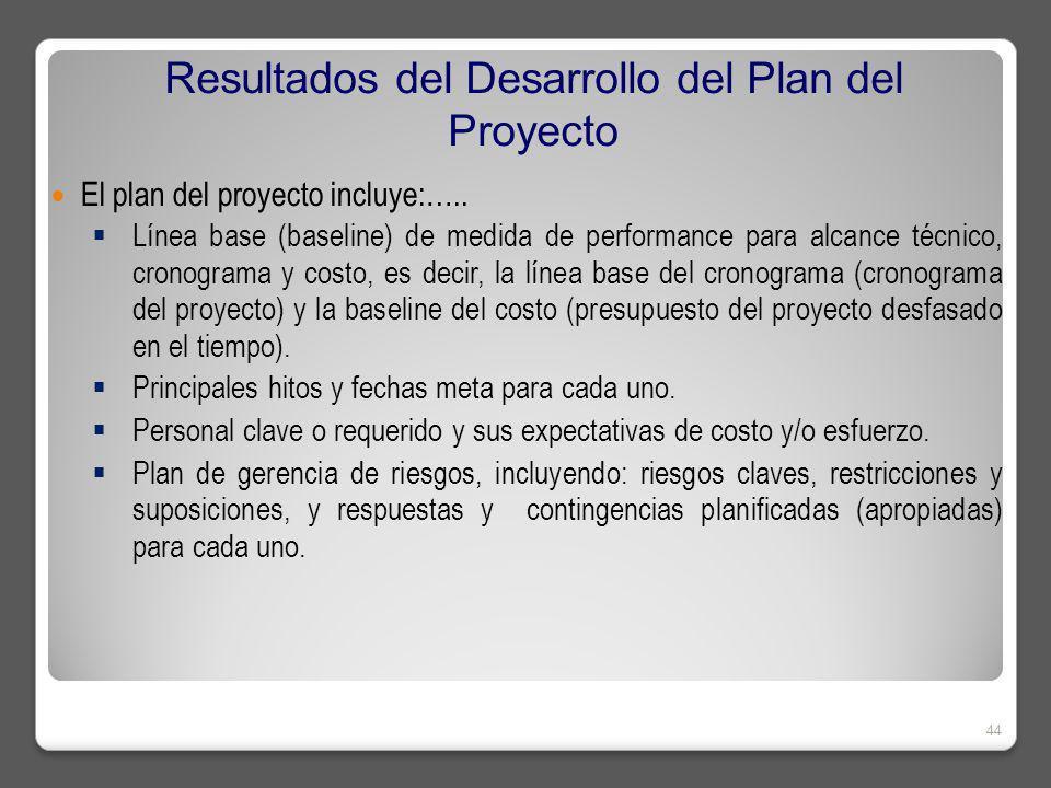 El plan del proyecto incluye:…..
