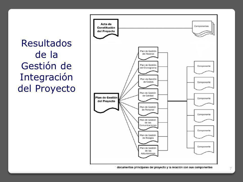 GESTIÓN DE INTEGRACIÓN 28 TIEMPO CALIDAD CALIDAD INTEGRACIÓN RIESGOS COMUNICACIÓN RECURSOSHUMANOS CONTRATO / PROCURA COSTO ALCANCE Objetivos de costos, restricciones Impacto del Riesgo Ideas, Directivas, Precisión en el intercambio WBS Objetivos de tiempos, restricciones Servicios, Infraestructura, Materiales: Performance Disponibilidad Productividad Requerimientos Estándares