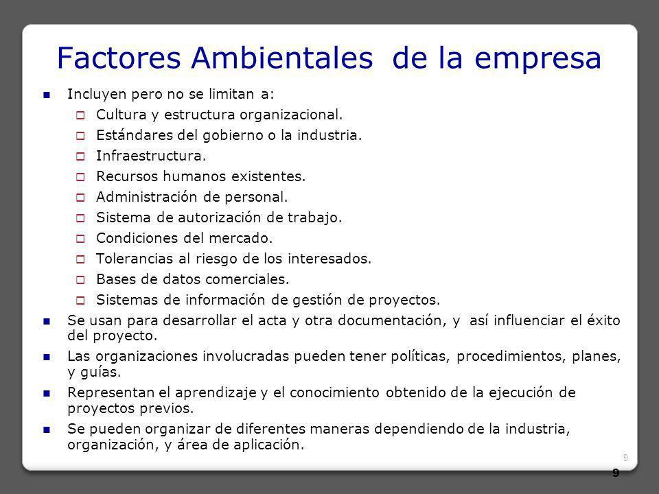9 9 Factores Ambientales de la empresa Incluyen pero no se limitan a: Cultura y estructura organizacional.
