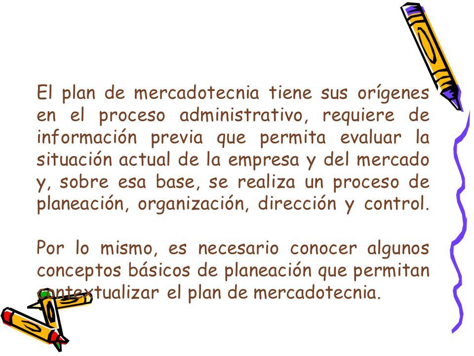 El plan de mercadotecnia tiene sus orígenes en el proceso administrativo, requiere de información previa que permita evaluar la situación actual de la