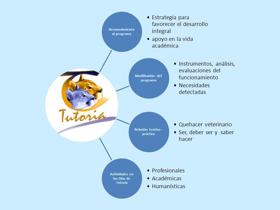 Reconocimiento al programa Estrategia para favorecer el desarrollo integral apoyo en la vida académica Modificación del programa Instrumentos, análisi