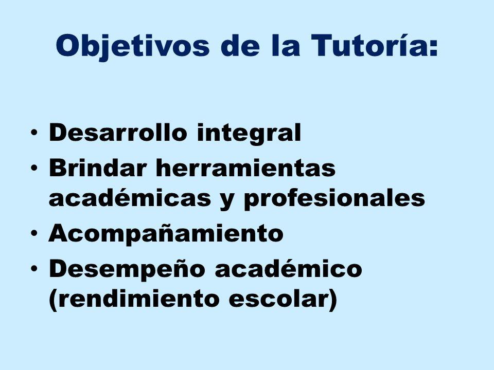 Objetivos de la Tutoría: Desarrollo integral Brindar herramientas académicas y profesionales Acompañamiento Desempeño académico (rendimiento escolar)