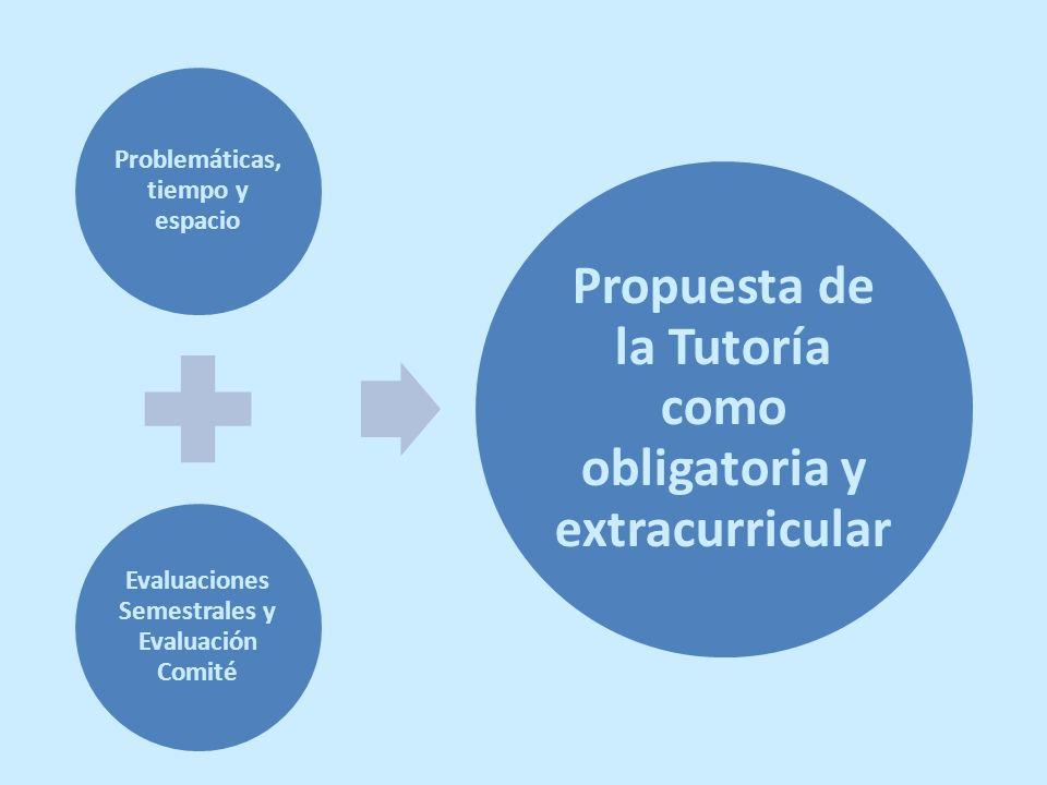 Problemáticas, tiempo y espacio Evaluaciones Semestrales y Evaluación Comité Propuesta de la Tutoría como obligatoria y extracurricular