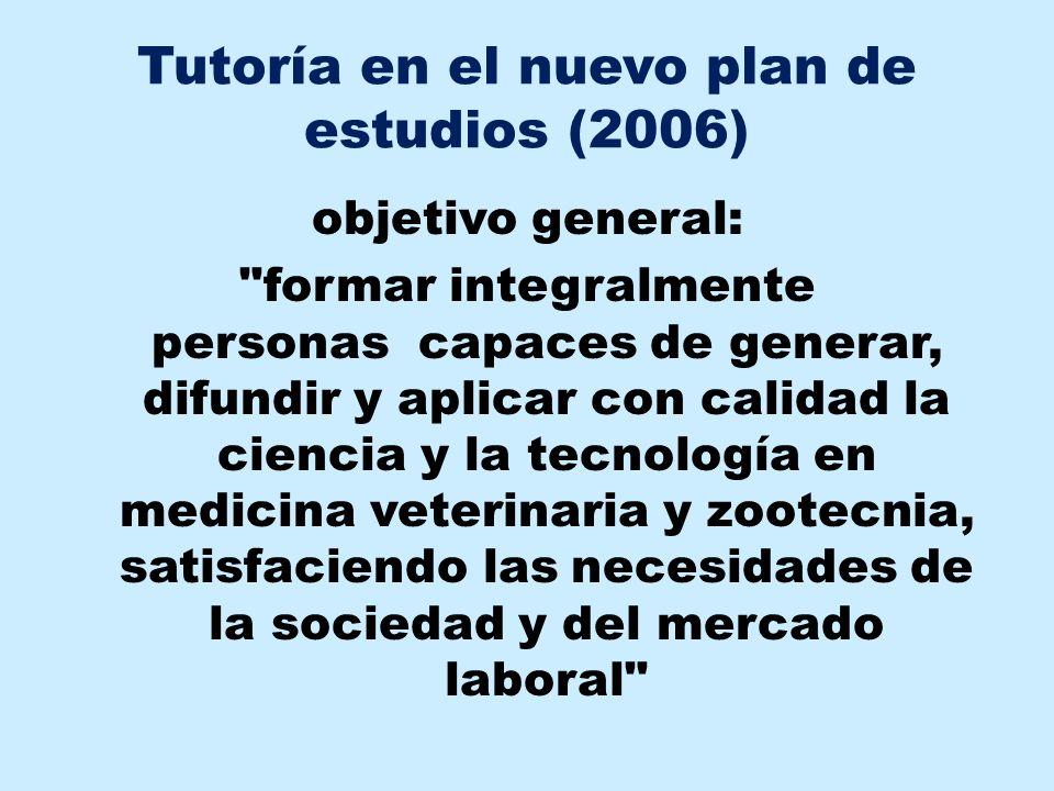 Tutoría en el nuevo plan de estudios (2006) objetivo general:
