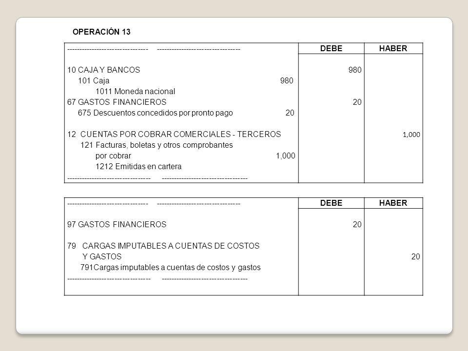 -------------------------------- --------------------------------- 10 CAJA Y BANCOS 101 Caja 980 1011 Moneda nacional 67 GASTOS FINANCIEROS 675 Descue