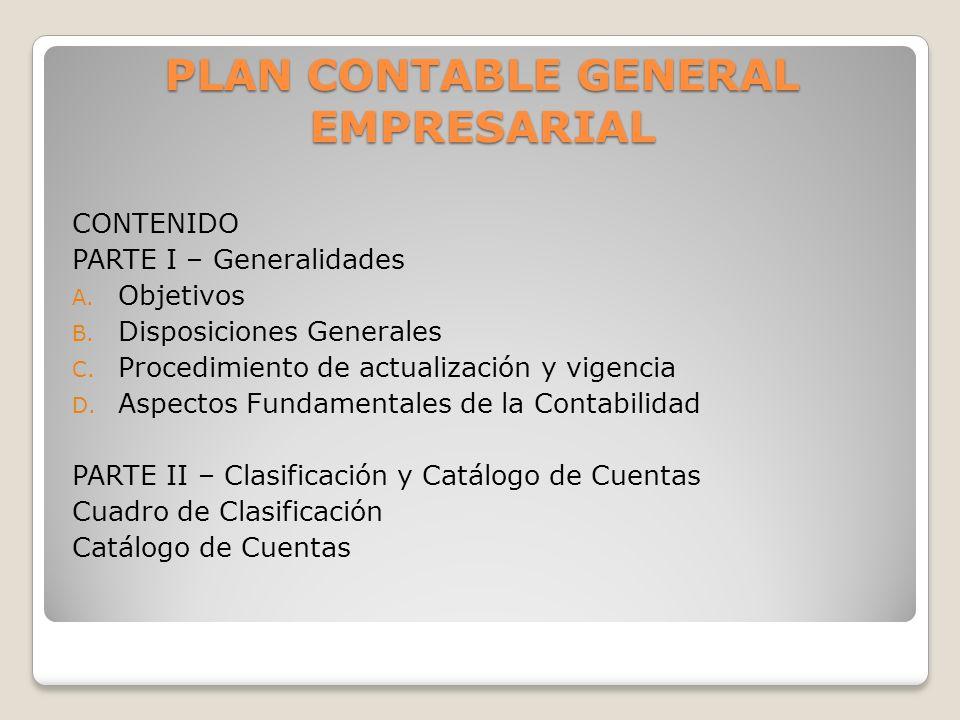 PLAN CONTABLE GENERAL EMPRESARIAL CONTENIDO PARTE I – Generalidades A. Objetivos B. Disposiciones Generales C. Procedimiento de actualización y vigenc