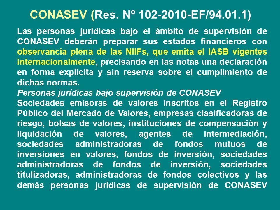 CONASEV (Res. Nº 102-2010-EF/94.01.1) Las personas jurídicas bajo el ámbito de supervisión de CONASEV deberán preparar sus estados financieros con obs