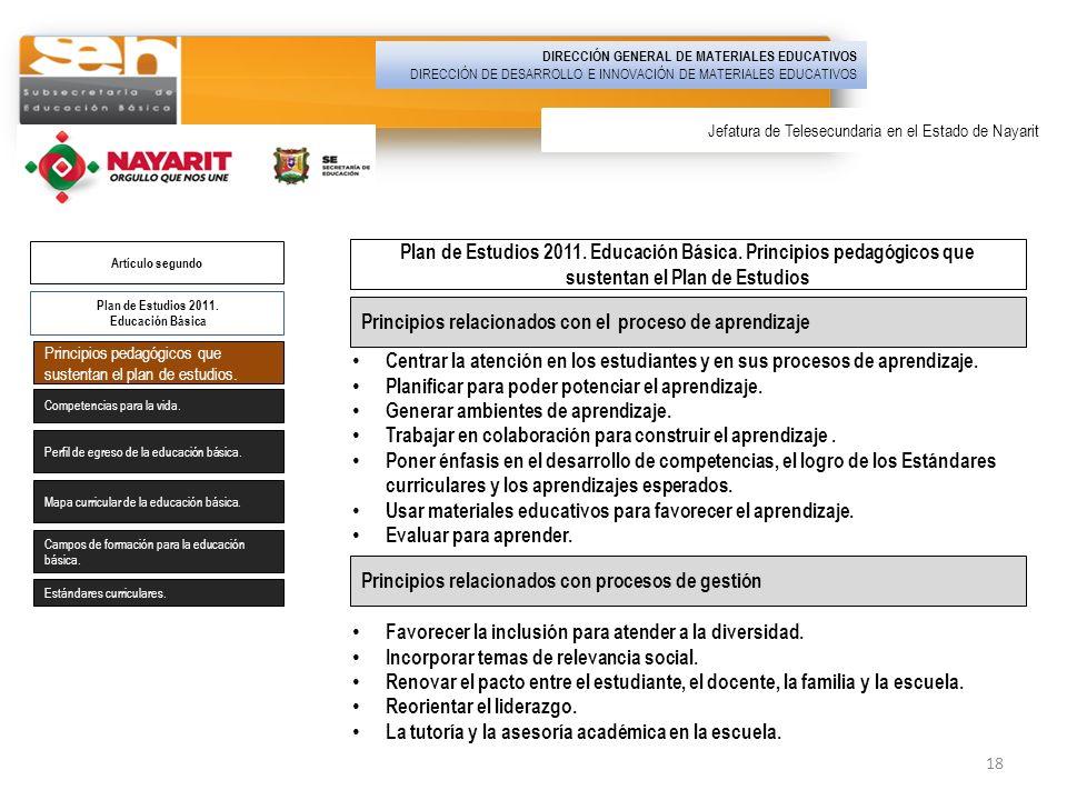 Plan de Estudios 2011. Educación Básica Artículo segundo Principios pedagógicos que sustentan el plan de estudios. Competencias para la vida. Perfil d