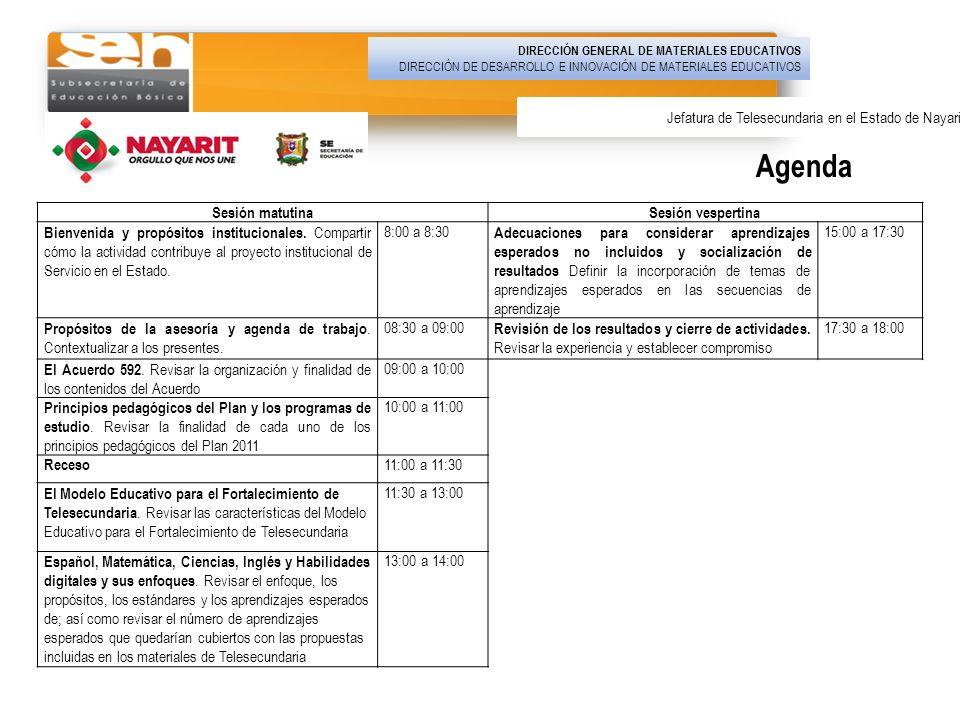 Agenda DIRECCIÓN GENERAL DE MATERIALES EDUCATIVOS DIRECCIÓN DE DESARROLLO E INNOVACIÓN DE MATERIALES EDUCATIVOS Jefatura de Telesecundaria en el Estad