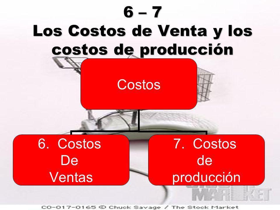 6 – 7 Los Costos de Venta y los costos de producción Costos 1.