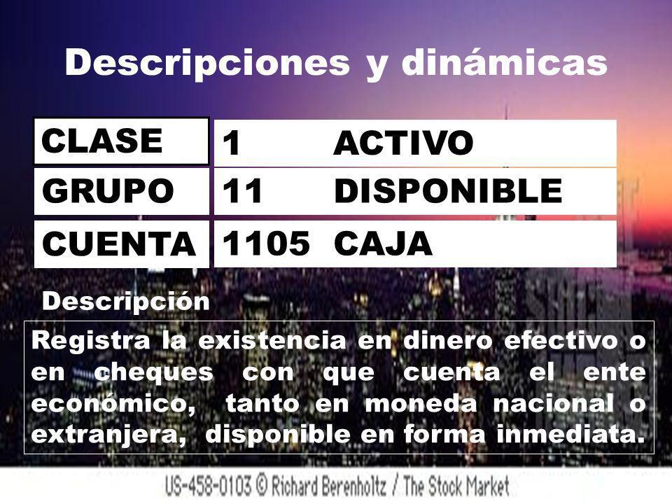 Descripciones y dinámicas CLASE 1 ACTIVO 11 DISPONIBLE 1105 CAJA GRUPO CUENTA Descripción Registra la existencia en dinero efectivo o en cheques con que cuenta el ente económico, tanto en moneda nacional o extranjera, disponible en forma inmediata.