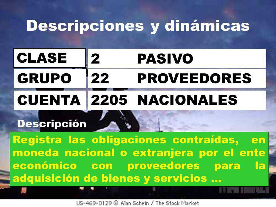 Descripciones y dinámicas CLASE 2 PASIVO 22 PROVEEDORES 2205 NACIONALES GRUPO CUENTA Descripción Registra las obligaciones contraídas, en moneda nacional o extranjera por el ente económico con proveedores para la adquisición de bienes y servicios …
