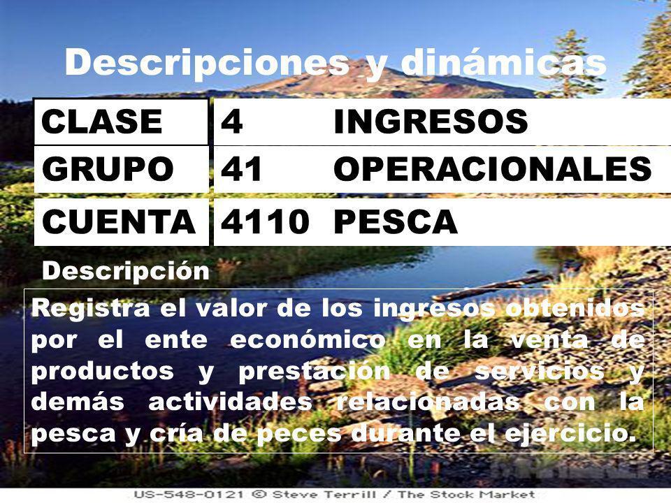 Descripciones y dinámicas CLASE 4 INGRESOS 41 OPERACIONALES 4110 PESCA GRUPO CUENTA Descripción Registra el valor de los ingresos obtenidos por el ente económico en la venta de productos y prestación de servicios y demás actividades relacionadas con la pesca y cría de peces durante el ejercicio.