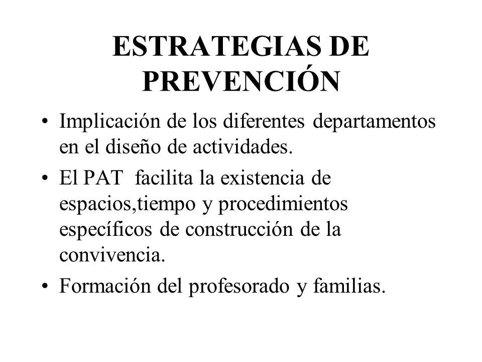 ESTRATEGIAS DE PREVENCIÓN Implicación de los diferentes departamentos en el diseño de actividades.